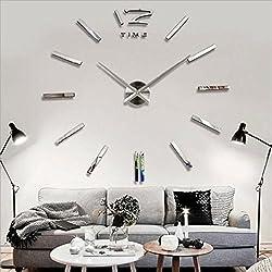 Soledi Modern DIY 3D Frameless Large Silver Wall Clock Room Home Decorations