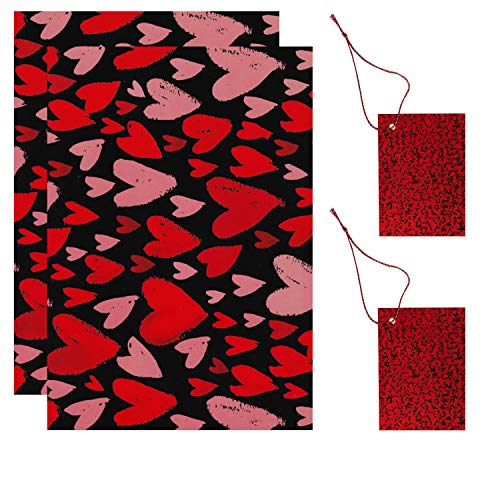 2 Sheets Gift Wrapping Paper & 2 Gift Tags Valentines Pink & Red Hearts 50cm x 70cm D108
