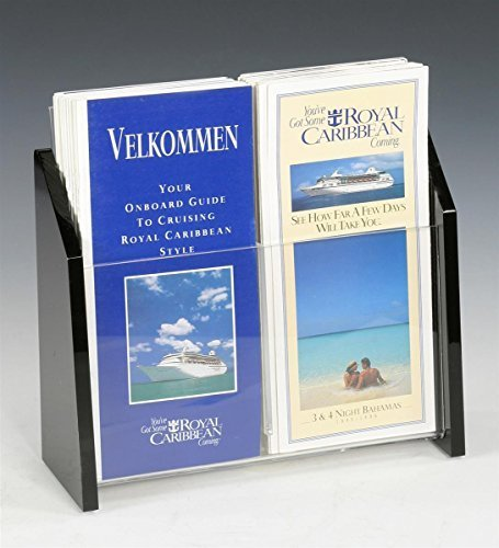 Set of 2 - 2-Pocket Literature Holder for 4x9 Pamphlets, Tabletop Brochure Rack with Clear Acrylic Front Panel and Black Sides by Displays2go