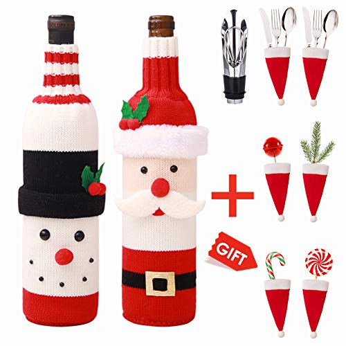 Christmas Wine Bottle Cover, Knitted Christmas Wine Decorations for Christmas Parties, Table Decorations, Gifts - Wine Separator & 6 Pack Christmas Hats Holders