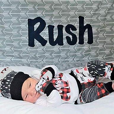 Hat 3Pcs Outfits Set Newborn Baby Boy Girl Clothes Baby Bear Letter Print Romper Pants