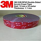 3M VHB RP45 Double-Sided Acrylic Foam Tape | 12 mm x 33 meter | Thickness 1.1 mm | | Packed by TeeDeeGroup in a special non stick plastic bag