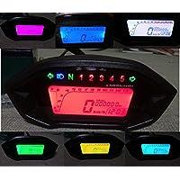 Samdo Universal 5 Gear 7 Backlight LCD Motorcycle Speedometer Odometer Gauge 13000 RPM 199 KMH MPH
