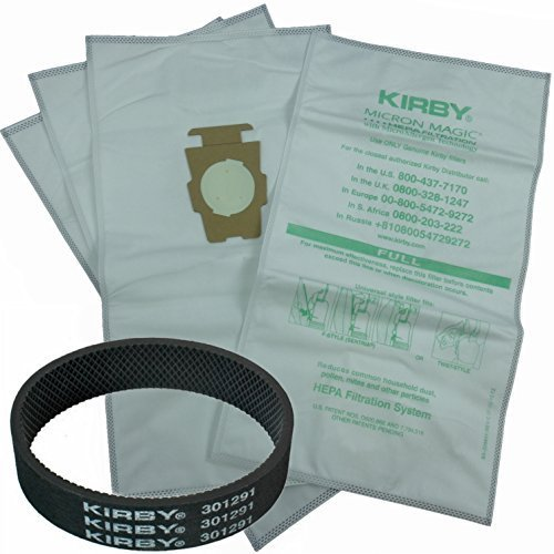 4 Kirby Allergen Micron Magic Universal F Style Turn Style Vacuum Bags & 1 Belt by Kirby