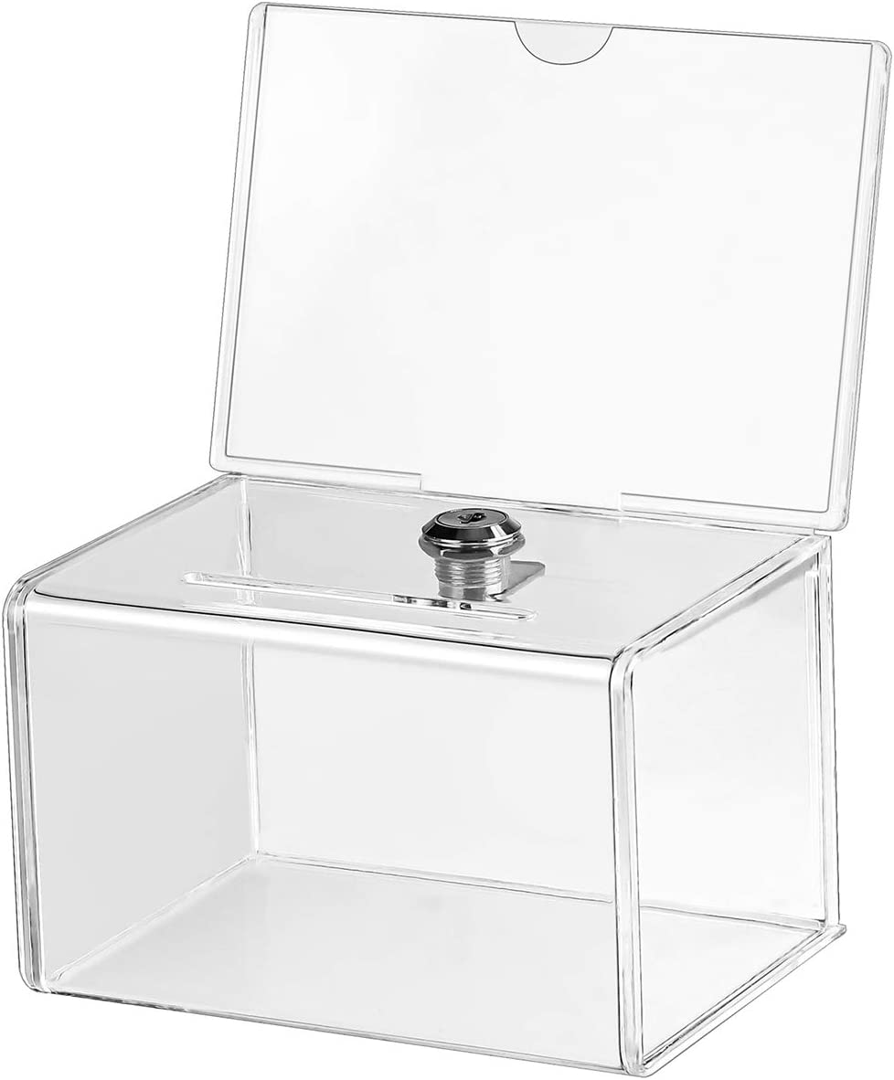 """MaxGear Acrylic Donation Box with Lock and Sign Holder, Clear Ballot Box Donation Boxes for Fundraising (6.25"""" x 4.5"""" x 4"""") with Lock - Clear"""