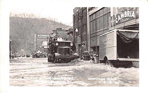 Johnstown Flood Disaster Pennsylvania Trucks on Main st Real Photo PC J68718