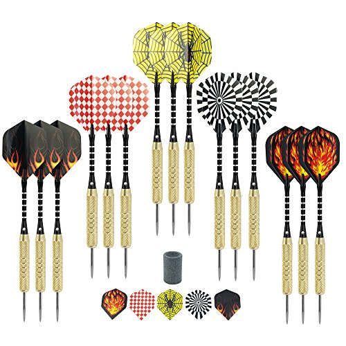 Best Deals! Darts - 15 Pack Steel Tip Darts 18 grams with aluminum shafts and brass barrels include ...