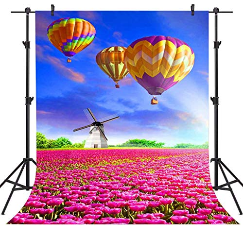 - FLASIY Hot Air Balloon Backdrop 5x7FT Red Tulip Manor Windmill Photography Backdrop for Wedding Party Studio Photo Backgrounds Props GEAY393