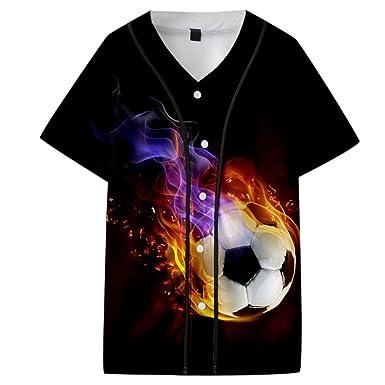 XuanhaFU Camisetas Hombre Impresión de Fútbol 3D Manga Cortos ...