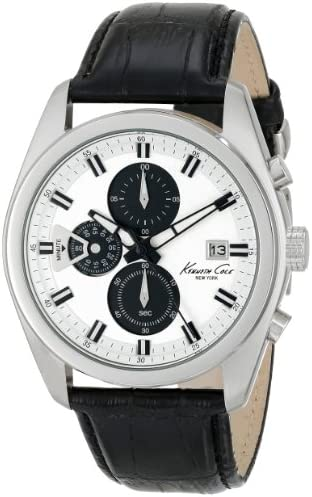 Kenneth Cole New York Men s KC8041 Dress Sport Round Chronograph Black Strap Analog Watch
