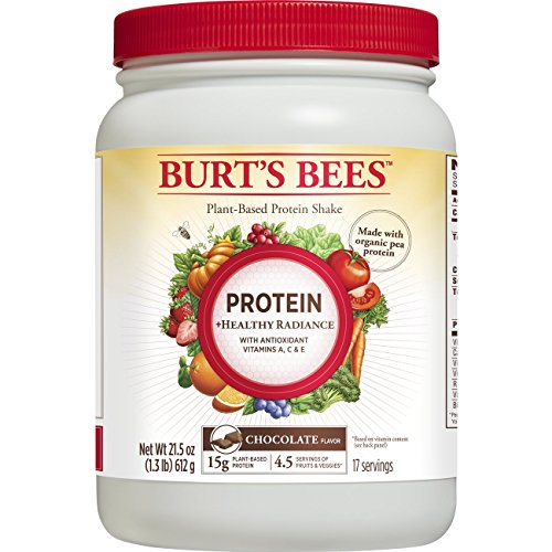 Burt's Bees Plant-Based Protein Powder, Healthy Radiance, 21.5 Oz., Chocolate Flavor