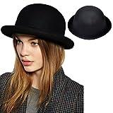 EWIN(R) 1PCS Wool Plain Celebrity Trendy Lady Bowler Derby Hat Fashion Vogue Vintage Women's Wool Nice (Black)