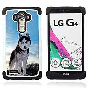 For LG G4 H815 H810 F500L - Happy Husky Dog Dual Layer caso de Shell HUELGA Impacto pata de cabra con im????genes gr????ficas Steam - Funny Shop -