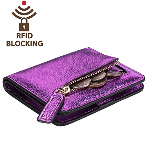 Pebbled Itslife Small Window Gold Id Leather Wallet Women's Blocking Pocket Rfid Mini Purple With Bifold Ladies Purse Compact ZttBwq