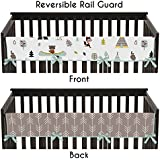 Aqua Blue and Gray Outdoor Adventure Long Front Rail Guard Boys or Girls Baby Teething Cover Crib Protector Wrap