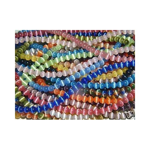 Image of Beads & Bead Assortments 10mm Cat's Eye bead Strands Grade 'A' Fiber optic, 32 Colors to choose from (31 Strands (One of each color))