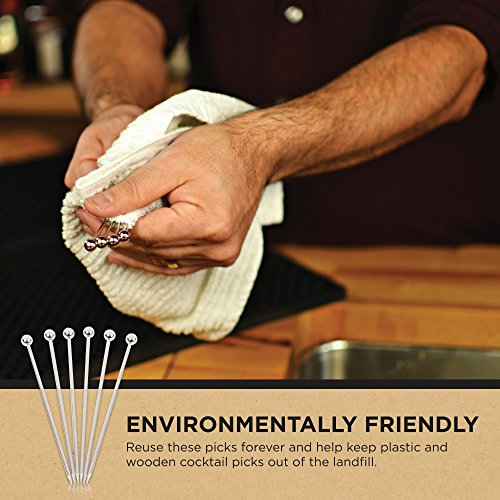 Stainless Steel Cocktail Picks - 4'' (12pc Set) by Top Shelf Bar Supply (Image #8)