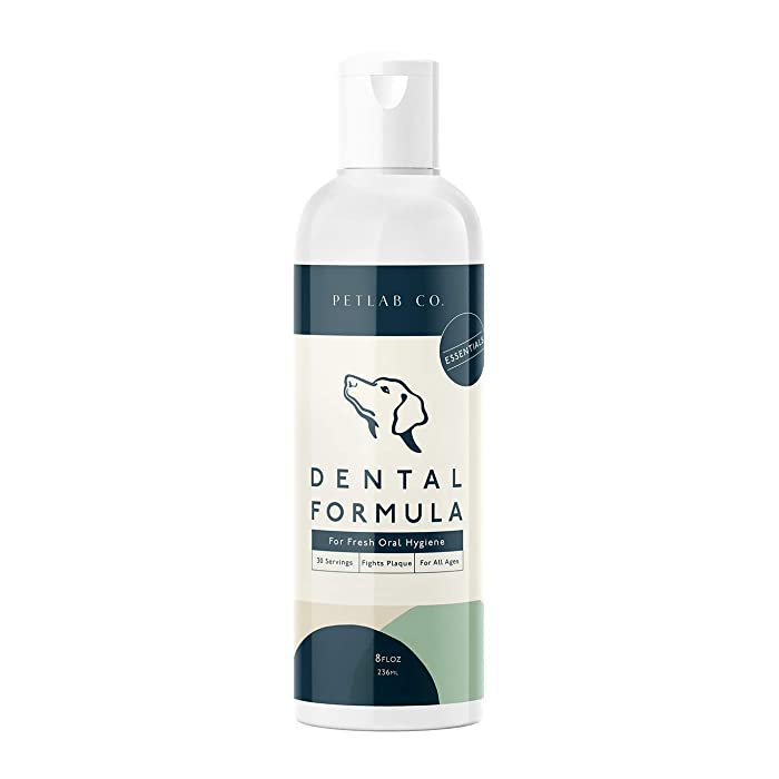 Petlab Co. Dental Formula Water Additive for Dogs | Dog Plaque Remover, Fresh Breath, Treatment for Gum and Tartar | Healthy Mouth and Teeth Oral Hygiene