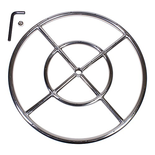 "Celestial Fire Glass 18"" Round Fire Pit Burner Ring, Stainless Steel, Double Ring"