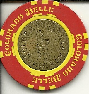 - $5 colorado belle obsolete laughlin casino chip nevada silver inlay