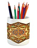 Ambesonne Arabian Pencil Pen Holder, Vintage Floral Geometrical Pattern with Turkish Ottoman Calligraphic Art Boho Print, Printed Ceramic Pencil Pen Holder for Desk Office Accessory, Multicolor
