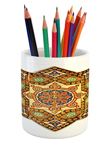 Ambesonne Arabian Pencil Pen Holder, Vintage Floral Geometrical Pattern with Turkish Ottoman Calligraphic Art Boho Print, Printed Ceramic Pencil Pen Holder for Desk Office Accessory, Multicolor by Ambesonne