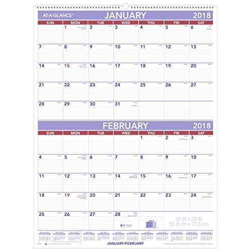 "AT-A-GLANCE Two Month Wall Calendar, January 2018 - December 2018, 22"" x 29"", White (PM928)"