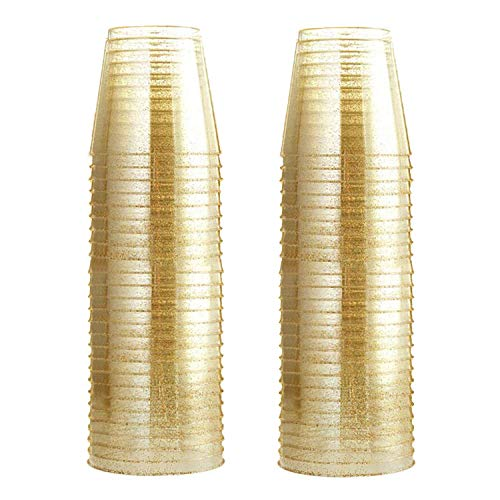Glitter Plastic Cups | Gold Glitter Disposable Cups 9 oz. 100 Pack | Clear Plastic Cups Old Fashioned Tumblers | Recyclable Wine Glasses for Parties | Elegant Plastic Party Cups Wedding Decorations ()