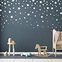 190 Picees Star Wall Decals, Matte Vinyl Wall Decals, Nursery Wall Decals, Easy to use, Removable Wall Decals for Kids Baby Girls Boys Bedroom, Home Decor Wall Stickers(Y17) (White)