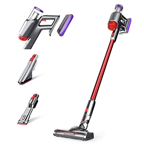 Cordless Vacuum, VacLife Vacuum Cleaner with Replaceable Battery, Stick Vacuum Extra Filter for Washing, Powerful Vacuum Cleaner Cordless 2 in 1, Lightweight Vacuum with LED Light
