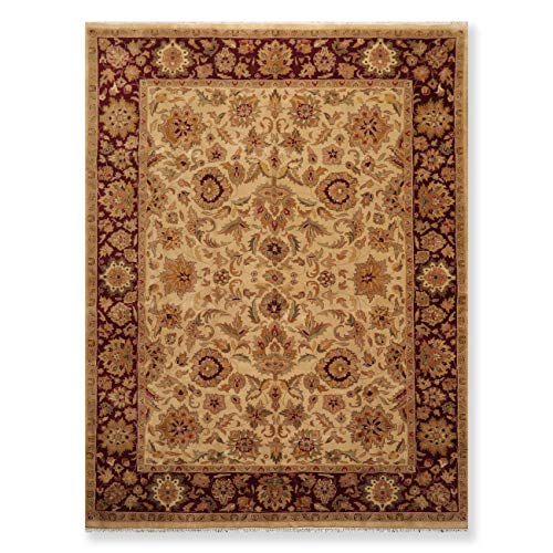 Agra Design Rug - 9'x12' Beige, Burgundy, Tan, Sage, Gold, Brown, Multi Color Hand Knotted Persian Oriental Area Rug Wool Traditional Superfine Agra Design Oriental Rug - ORH11694