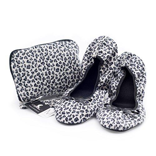 Catmotion Ballet Bolsa Después De Zapatos Bailarinas Damas Con En Su Bombas Po Zapatillas La Para Bolso Bolsillo Plegables Cómodos Leopard Fiesta Bodas AATrH