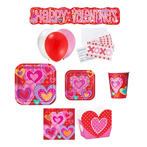 Will You Be My Valentine Party Bundle for 8: Assorted Color Balloon Set, Treat Boxes, Cups, Napkins, Heart Lunch & Desert Plates, XOXO Invitations with FREE Party Banner