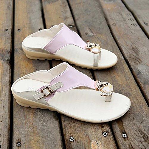 Slippers HAIZHEN Women shoes Sandals Spring Summer Comfort PU Dress Casual (White/Blue/Pink) for Women (Color : Pink, Size : EU36/UK4/CN36) Pink