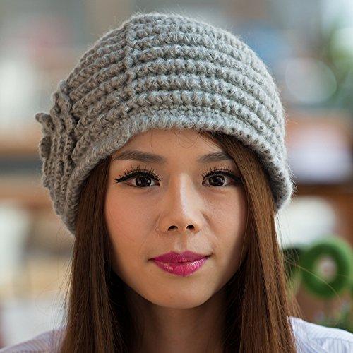 otoño a Ms Boina Invierno GRAY Coreana de estéreo de para el Punto Mano Grueso Sombrero Yellow Flores Hecha Punto de Maozi versión wvqxCC