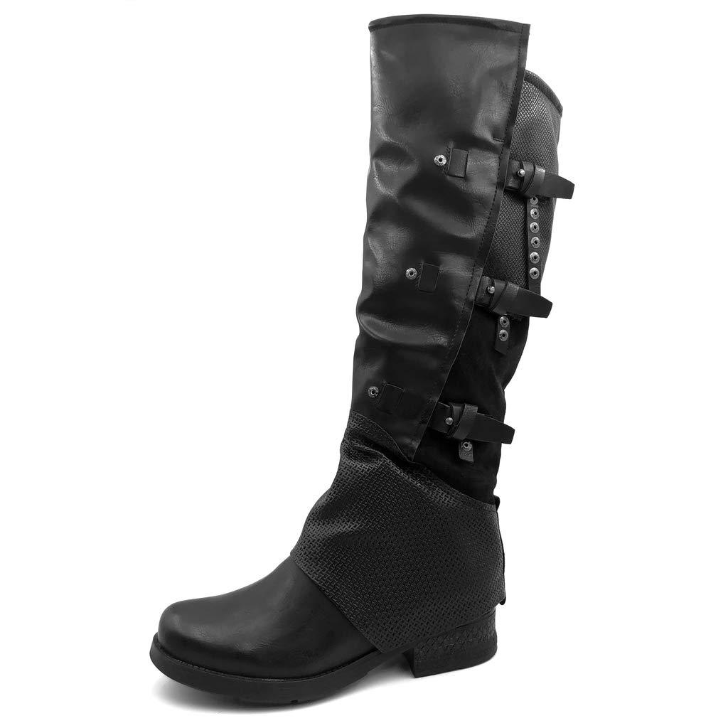 Angkorly - Damen Schuhe Oberschenkel-Stiefel Stiefel - Biker - Reitstiefel Kavalier - Classic - String Tanga - Nieten - Besetzt - Krokodil Blockabsatz 3.5 cm