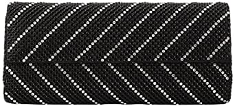 Whiting & Davis  Crystal Chevron Flap Clutch,Black,One Size
