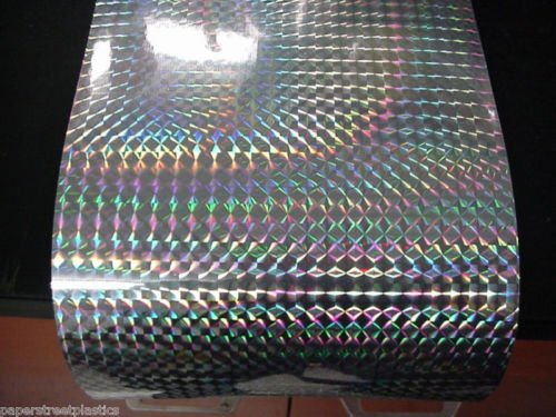 Roll of Prism Sign Vinyl, Holographic 1/4'' Mosaic, Self-Adhesive (24 inch x 10 feet, Silver)