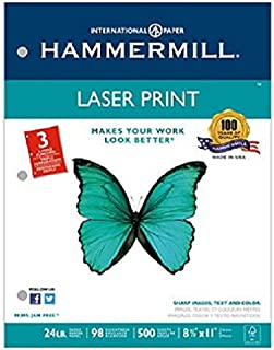 product image for Laser Print Office Paper, 3-Hole Punch, 98 Brightness, 24lb, Ltr, White, 500/Rm, Sold as 2 Ream
