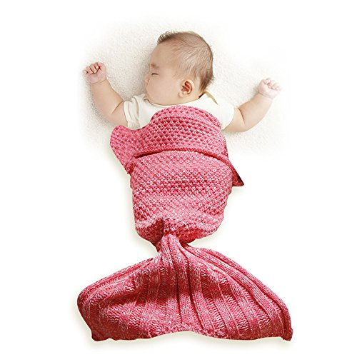 Funwill Mermaid Tail Blanket Knit Crochet for Baby Swaddling Sleeping Bag , for Baby Photo Photography (Pink) (Easy Make At Home Costume Ideas)