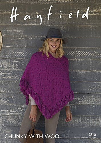 Hayfield Ladies Poncho With Wool Knitting Pattern 7810 Chunky