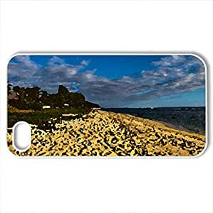 beautiful lonesome beach - Case Cover for iPhone 4 and 4s (Beaches Series, Watercolor style, White)