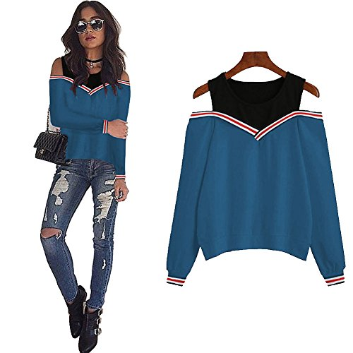 Longwu Women's Strapless Cut Out Shoulder Top Two Layers Collar Plus Cashmere Sweatshirts Ribs Loose Cuffs Long Sleeve Shirt Pullover Blue-M (Long Sleeve Footlocker)