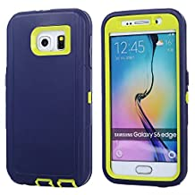MOONCASE Galaxy S6 Edge Case, 3 Layers Heavy Duty Defender Hybrid Soft TPU +PC Bumper Triple Shockproof Drop Resistance Protective Case Cover for Samsung Galaxy S6 Edge -Navy Green