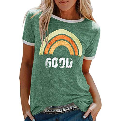 (Womens Sexy Tops 2019, YEZIJIN Women Summer Letters Printing Short Sleeve Shirt Casual Tunic Tops Blouse Green)