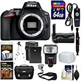 Nikon D5600 Wi-Fi Digital SLR Camera Body with 64GB Card + Case + Flash + Battery & Charger + Grip + Tripod + Remote + Kit