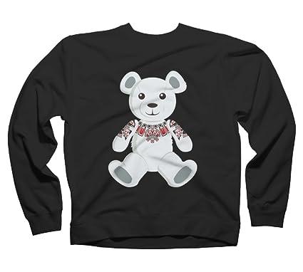 Haida tattooed teddy bear Women's Small Black Graphic Crew Sweatshirt