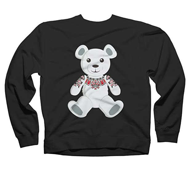 Haida tattooed teddy bear Men's Small Black Graphic Crew Sweatshirt