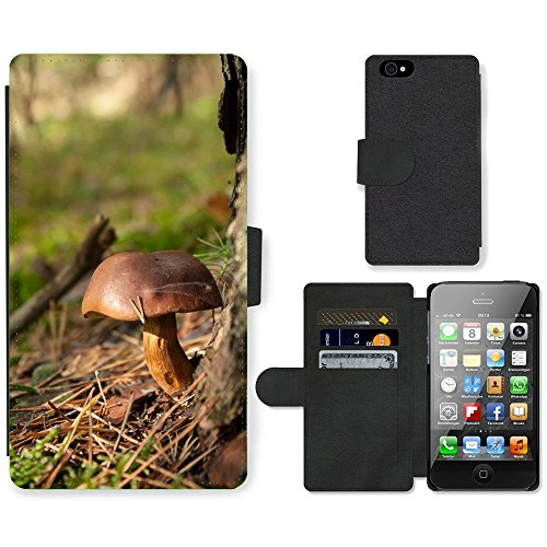 Just Phone Cases PU Leather Flip Custodia Protettiva Case Cover per // M00128465 Champignons Autumn Forest Bronze // Apple iPhone 4 4S 4G