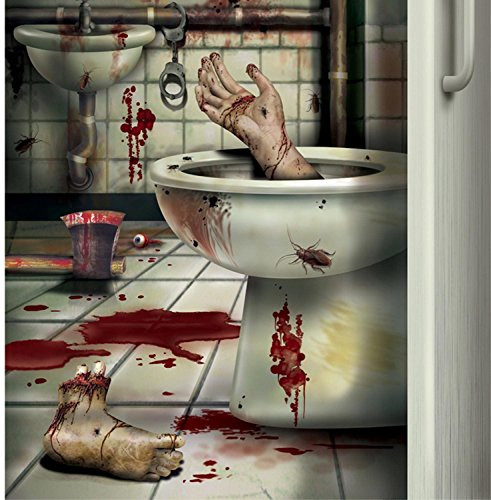 CSI Bloody Horror CREEPY CRAPPER BATHROOM DOOR COVER Psycho Halloween Decoration]()